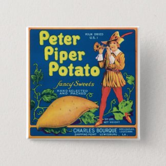Vintage Sweet Potato Food Product Label Pinback Button
