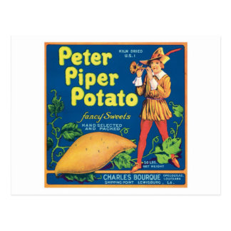 Vintage Sweet Potato Food Product Label Postcard