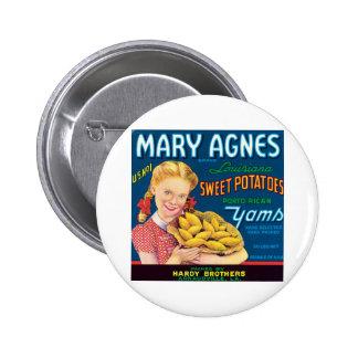 Vintage Sweet Potatoes Food Product Label Pins