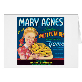 Vintage Sweet Potatoes Food Product Label Card