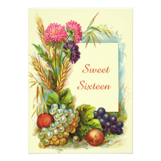 Vintage Sweet Sixteen Colorful Fruits & Flowers Custom Announcement