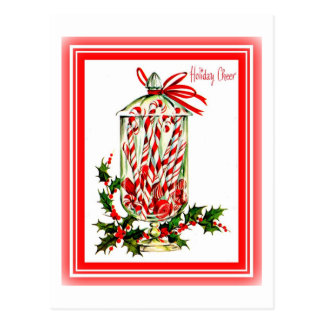 Vintage Sweet Treats Candy Cane Jar Postcard