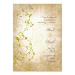 """Vintage Sweet Vine Golds II Wedding Invitation 5"""" X 7"""" Invitation Card"""