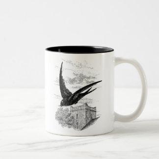 Vintage Swift Swallow Bird Illustration Template Two-Tone Coffee Mug