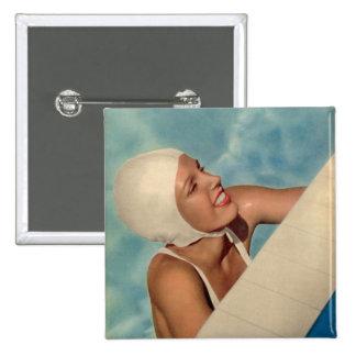 Vintage Swimmer 1950s bathing cap magazine cover Pinback Button