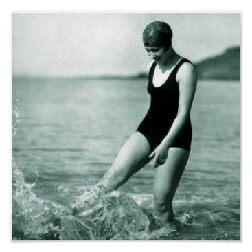 Beach Themed Vintage Swimmer Poster