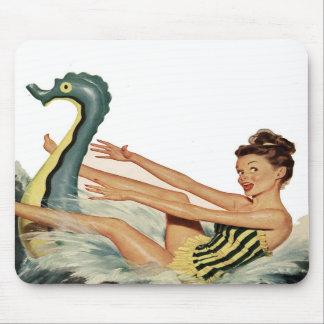 Vintage Swimming Pin-Up Girl Mousepad