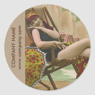 vintage swimsuit pin up girl beauty salon tanning classic round sticker