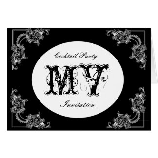 VINTAGE SWIRL BLACK COCKTAIL PARTY INVITATION GREETING CARD