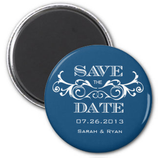 Vintage Swirl Blue Save the Date Magnet