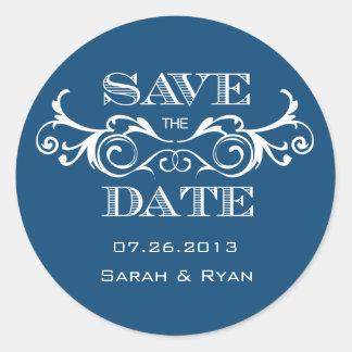Vintage Swirl Blue Save the Date Sticker