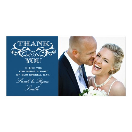 Vintage Swirl Blue Wedding Photo Thank You Custom Photo Card