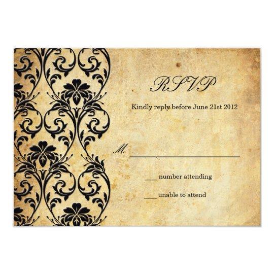 Vintage Swirl Damask Wedding RSVP Card