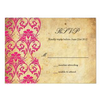 Vintage Swirl Damask Wedding RSVP Card