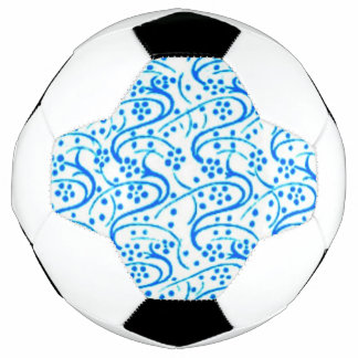 Vintage Swirl Floral Blue and White Soccer Ball