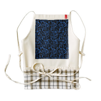 Vintage Swirl Floral Blue Black Zazzle HEART Apron
