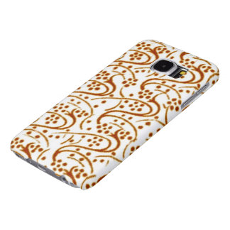 Vintage Swirl Floral Brown and White Samsung Galaxy S6 Case