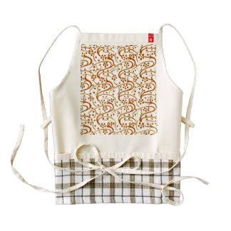 Vintage Swirl Floral Brown and White Zazzle HEART Apron