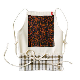 Vintage Swirl Floral Orange Black Zazzle HEART Apron