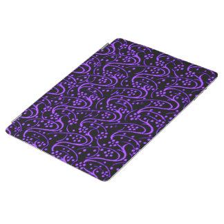 Vintage Swirl Floral Purple Black iPad Cover