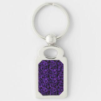 Vintage Swirl Floral Purple Black Keychain