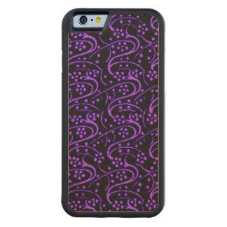 Vintage Swirl Floral Purple Black Carved® Maple iPhone 6 Bumper Case