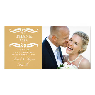 Vintage Swirl Gold Wedding Photo Thank You Card