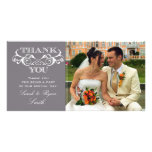 Vintage Swirl Grey Wedding Photo Thank You Cards Custom Photo Card
