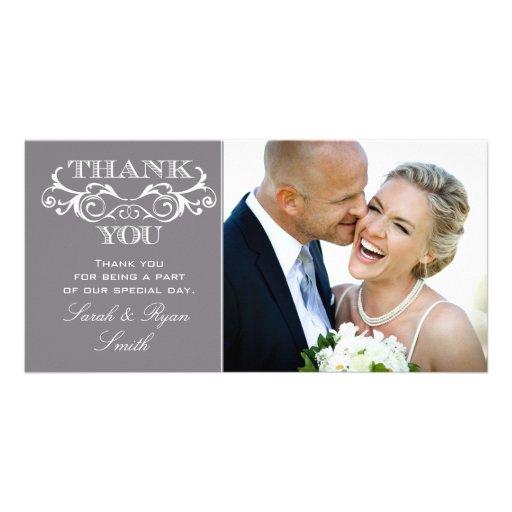 Vintage Swirl Grey Wedding Photo Thank You Cards Photo Greeting Card