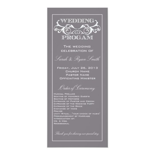 Vintage Swirl Grey Wedding Program