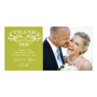 Vintage Swirl Lime Wedding Photo Thank You Cards
