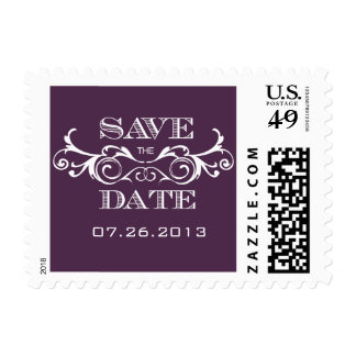 Vintage Swirl Purple Save the Date Postage