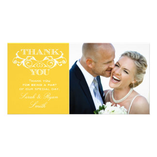 Vintage Swirl Yellow Wedding Photo Thank You Cards