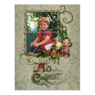 Vintage Swirls and Holly Photo Card