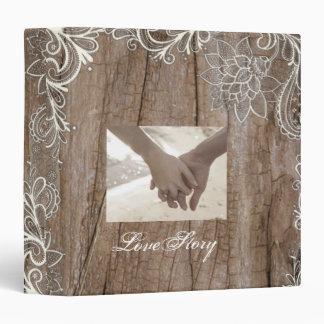 vintage swirls barn wood lace country wedding binder