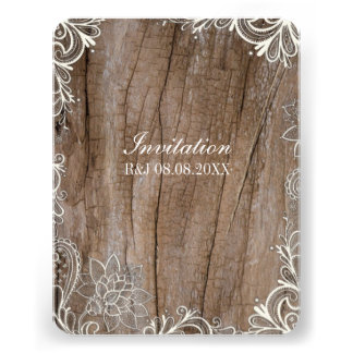 vintage swirls barn wood lace country wedding custom invitation