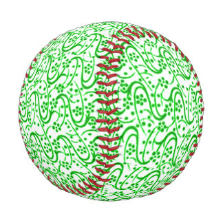 Vintage Swirls Floral Green and White Baseball