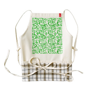 Vintage Swirls Floral Green and White Zazzle HEART Apron