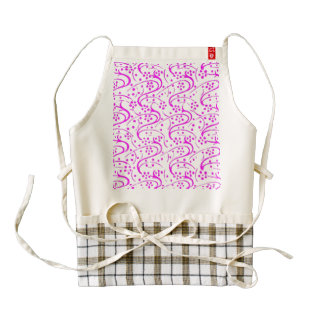 Vintage Swirls Floral Pink and White Zazzle HEART Apron