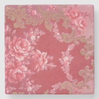Vintage Swirls Floral Roses Stone Beverage Coaster