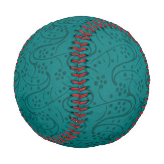 Vintage Swirls Floral Turquoise Teal Baseball