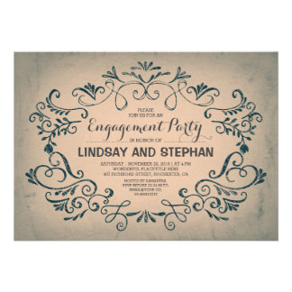 vintage swirls & flourishes engagement party card