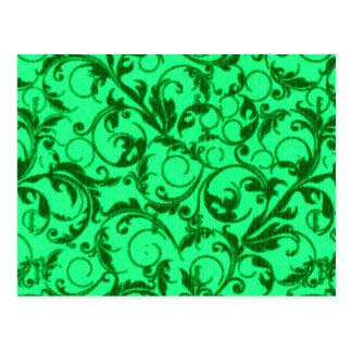 Vintage Swirls Green Post Cards