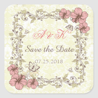 Vintage swirls, Hibiscus, butterfly Save the Date Square Sticker