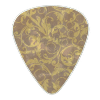 Vintage Swirls Mango Cinnamon Pearl Celluloid Guitar Pick