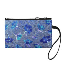 Vintage Swirls Retro Floral Waves Blue Bagettes Change Purse