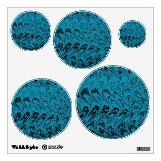 Vintage Swirls Teal Black Waves Wall Sticker