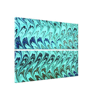 Vintage Swirls Teal Blue Green Silver Waves Canvas Print