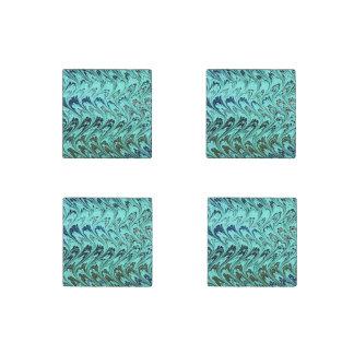 Vintage Swirls Teal Blue Green Silver Waves Stone Magnet
