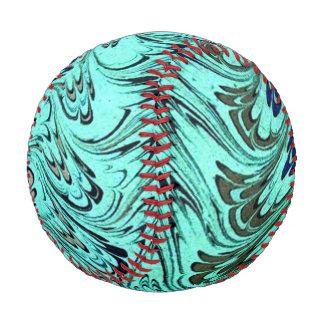 Vintage Swirls Teal Blue Sage Green Waves Baseball